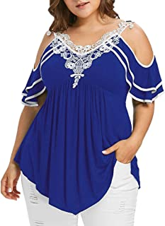 VEMOW Camisetas Moda para Mujer Talla Grande Manga Corta de Encaje Patchwork Correa de Hombro frío Top