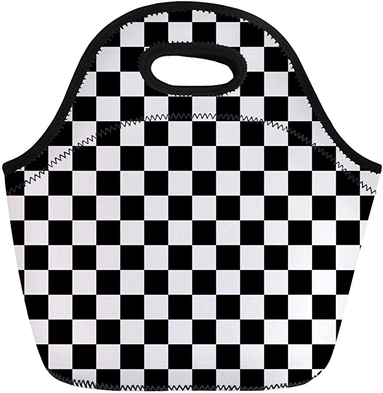 Semtomn Lunch Tote Bag Pattern Black And White Tiles Checker Checkerboard Check Board Reusable Neoprene Insulated Thermal Outdoor Picnic Lunchbox For Men Women