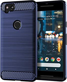 EGALO Google Pixel 2 Case, Slim Thin Carbon Fiber TPU Shock Absorption Anti-Scratches [Anti-Fingerprint] Flexible Protective Cases Cover for Google Pixel 2 (Navy)