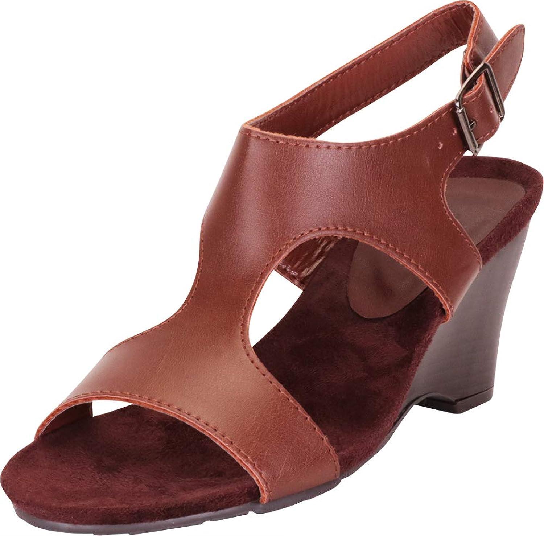 Cambridge Select Women's Open Toe Side Cutout Slingback Wedge Sandal