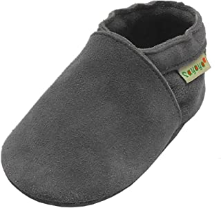 Yalion Baby Soft Sole Slip-On Cow Suede Leather Shoes Infant Toddler Tassels Moccasin Prewalker Gray