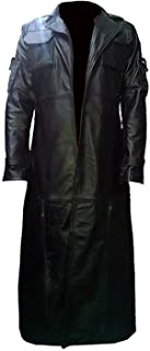 The Black Leather Trench Coat Jacket | Long Trench Costume Coat
