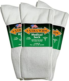 Big & Tall Men's Extra Wide Socks Medical Crew Size 11-16 White 3-Pack #1220A