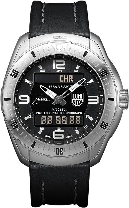 Orologio da polso al quarzo uomo cinturino in pelle nero - luminox - xcor aerospace XX.5241.XS