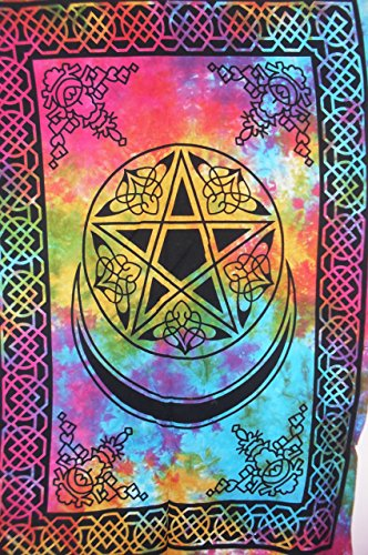 Traditional Jaipur Pentagram Celtic Art Tapestry, Indian Poster, Bohemian Wall Hanging, Hippie Dorm Room Decorations, Gypsy Wall Art
