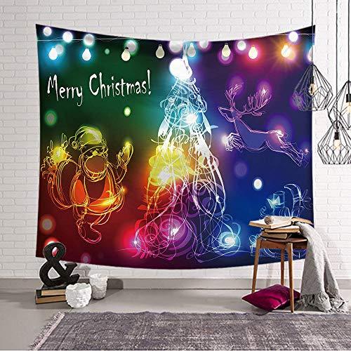 mmzki Fox Deer Moon Tapisserie Wandbehang Wand Stoff Tapisserie Decke Tapisserie für Wohnzimmer Schlafzimmer Bauernhaus Dekor Polyester ~ 1 200x150cm