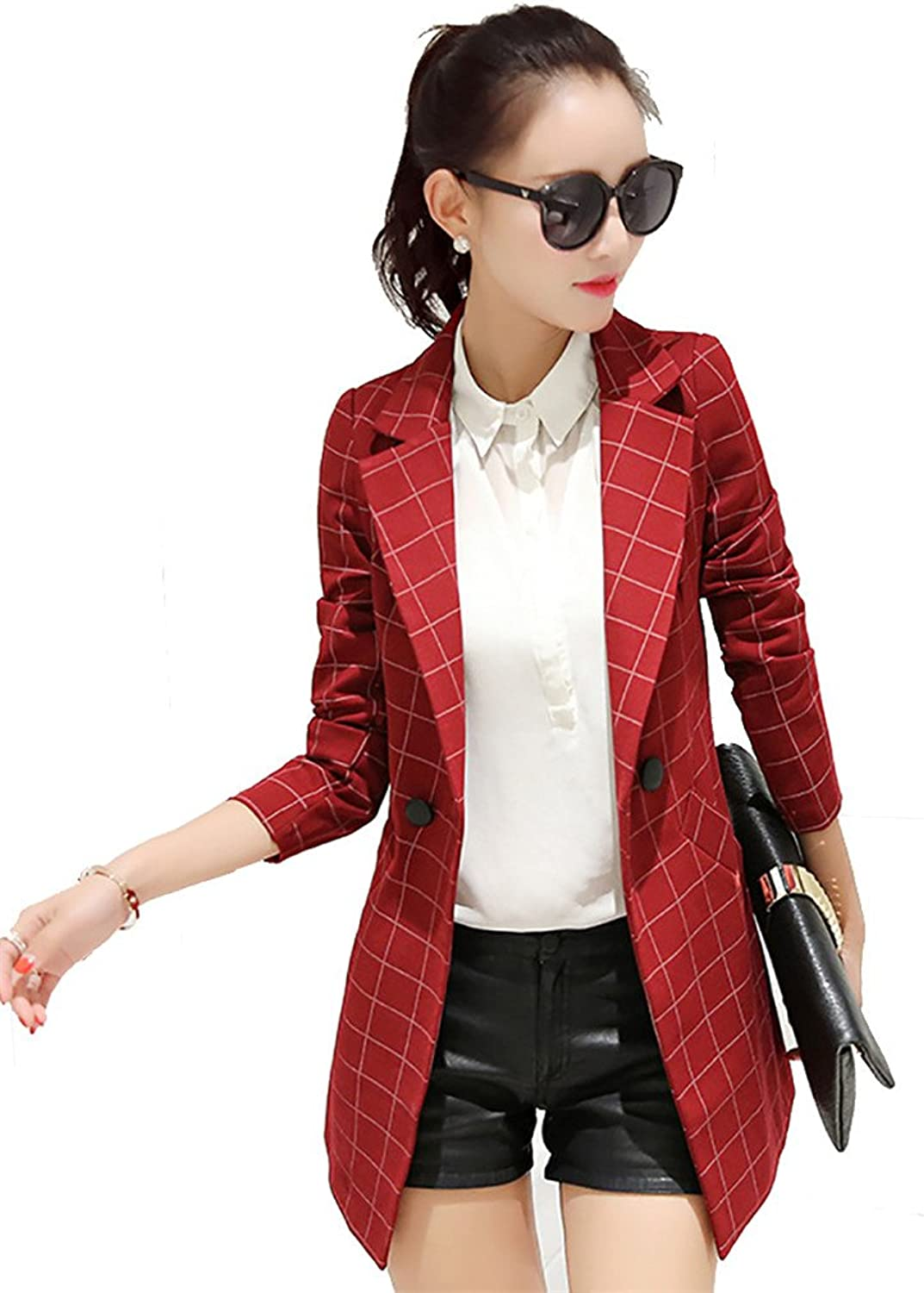 JZOEOEU Women's Juniors Work Office Blazer Long Sleeve Blazers One Button Jacket