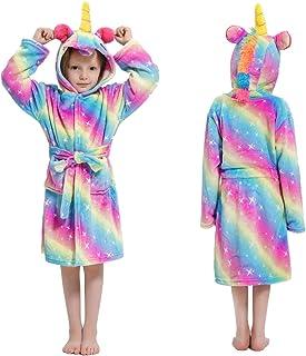 Girls Unicorn Robe Hooded Bathrobe Soft Flannel Sleepwear Loungewear Birthday Gifts for Kids