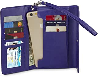 Universal Wallet Case Slim Clutch Folio for iPhone 7 Plus, 7, 6s Plus, 6 Plus, 6, Galaxy S7 Edge, S7, S6 edge, S6, Note 5, 4, More, PU Leather, 8 CARD SLOTS, 2 POCKETS including WINDOW POCKET