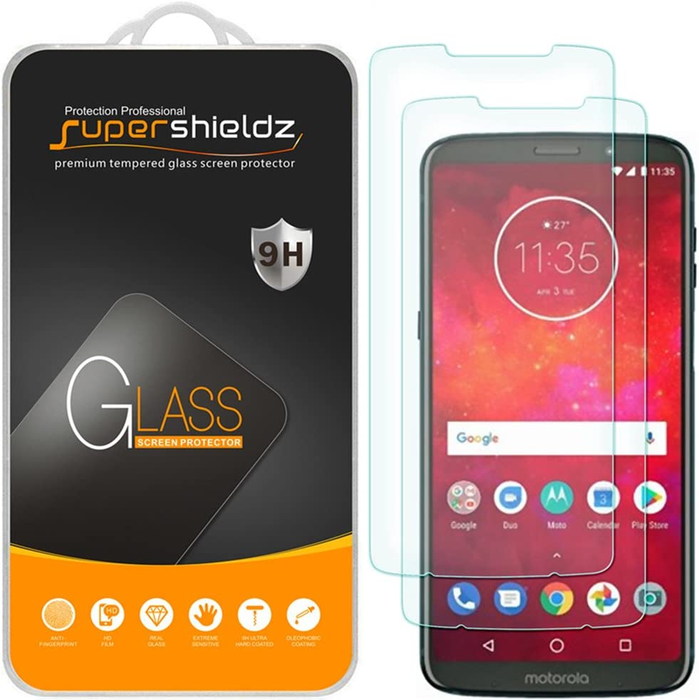 (2 Pack) Supershieldz Designed for Motorola Moto Z3 and Moto Z3 Play Tempered Glass Screen Protector, Anti Scratch, Bubble Free
