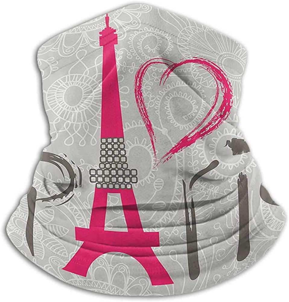 Face Scarf Mask For Men Eiffel Tower Decor Collection Cold Weather Face Motorcycle Scarf Paris Lettering I Love Paris over Lace Pattern Background Heart Shape Classic Image Magenta
