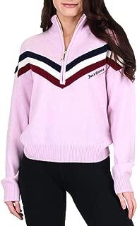Black Label Womens Cashmere Retro Striped Half-Zip Pullover Sweater