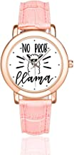 InterestPrint Funny Unicorn Rabbit Pig Llama Dog Women's Rose Gold-plated Watch Pink Leather Strap Wrist Watches
