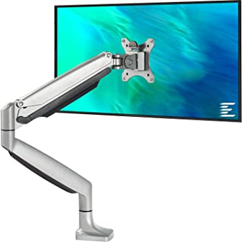 Adjustable Single LCD Monitor Arm Desk Mount Stand Full Motion Swivel Aluminum Alloy for 15-27 Computer Display Max 7kg Loaded