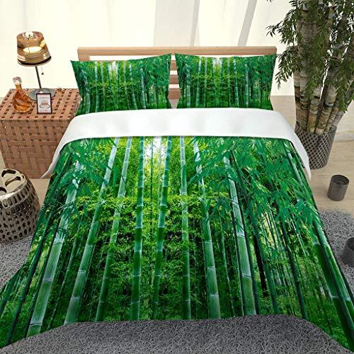 SNJIVU Duvet Covers Queen Size (90 X 90 Inches) - 3D Print Green Bamboo Forest Natural Landscape Bedspreads - 3 Pieces (1 Duvet Cover + 2 Pillow Shams), Ultra Soft Microfiber Bedding Sets with Zipper