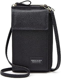 Damen Handy Tasche Umhängetasche kleine Crossbody Bag Handytasche geldbörse Schultertasche aus PU Leder mit Kartenfächer R...
