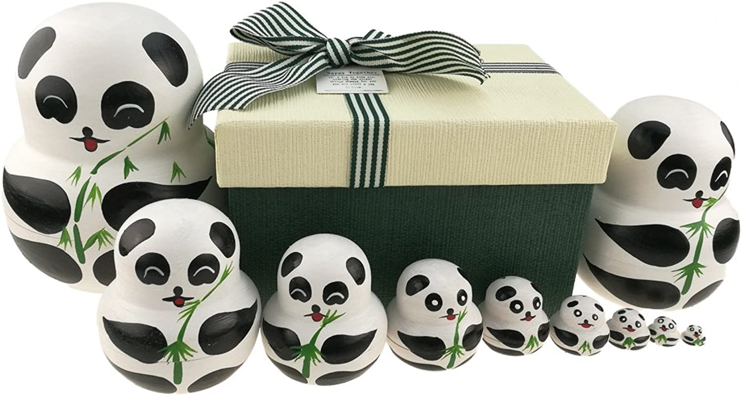 Set of 10 Big-Belly Wooden Handmade Panda Bear with Bamboo Nesting Dolls Matryoshka Russian Doll in a Box with Bow for Kids Toy Home Decoration New Year