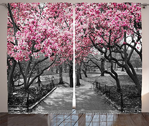 Ambesonne NYC Curtains, Blossoms in Central Park Landscape with Cherry Trees Forest in Spring Season Picture, Living Room Bedroom Window Drapes 2 Panel Set, 108' X 84', Magenta Grey