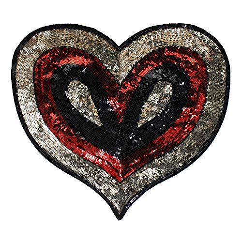 EMDOMO Flicken für Kleidung, T-Shirt, Patches mit Pailletten und Herzapplikationen, 1 Stück