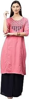 ALENA Cotton Women Casual Kurta in Pink Color