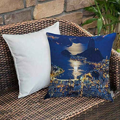 Bedding Soft Decorative Square Pillowcases Night,Aerial View of Mountain Sugar Loaf and Botafogo Rio de JaneiThrow Cushion Covers with Zipper - Sofa and Bed Pillowcases - 45 x 45 cm (18 x 18 inch)