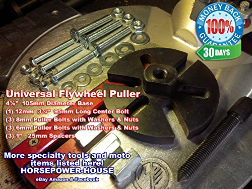 Universal Special Crowfoot Puller Tool to remove your Flywheel Rotor Stator Alternator on Powersport Vehicles Very Useful Versatile Fits Many Different Powersport Applications Universal Puller Set to remove your Flywheel Magneto Rotor Dynamo Alternator Generator Stator Fly Wheel and many other potential uses on motorcycle, dirtbike, lawnmower, chainsaw, snowmobile, scooter and much more