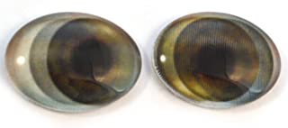 Moving Dark Green Animated Human Oval Glass Eyes Holographic Cabochon Pair for Art Dolls, Sculptures, Props, Masks, Halloween Decor, Jewelry Making, Taxidermy, and More (30mm x 40mm)