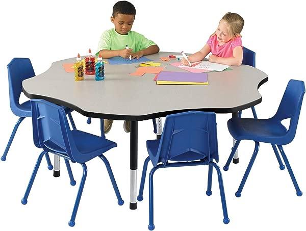 Classroom Select Apollo T Mold Adjustable Table Flower 60 Inches Top Color Gray Nebula Edge Color Black