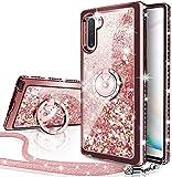 Miss Arts Galaxy Note 10 Plus 5G Hülle,[Silverback] Mädchen Glitzern Handyhülle hülle mit drehendem,Cover TPU Silikon Flüssigkeit Treibsand Schutzhülle für Samsung Galaxy Note 10 Plus 5G -PP
