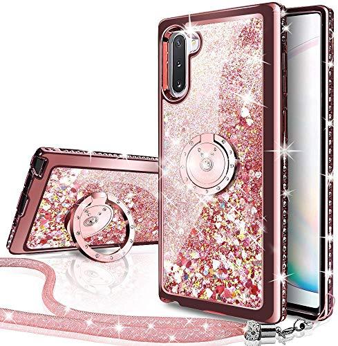 Miss Arts Funda Galaxy Note 10 Plus 5G,[Silverback] Carcasa Purpurina con Soporte Giratorio de 360 Grados,Cristal Bumper Telefono Fundas Case Cover para Samsung Galaxy Note 10+ Plus/Pro -Rose Oro