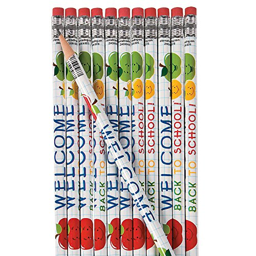 Fun Express Welcome Back to School Pencils - 24 Pieces - Educational and Learning Activities for Kids