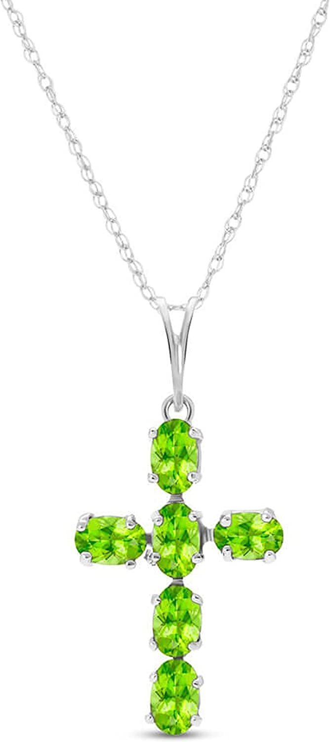 """Diamond /& Peridot Cross Pendant Necklace Set In Set in Sterling Silver With 18/"""""""