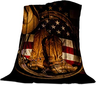 T&H Home Flannel Fleece Microfiber Throw Blanket USA Western Blanket, Cowboy Hat with Boots Rope on American Flag Soft Warm Fuzzy Lightweight Bed Blankets for Couch Bedroom Living Room 60