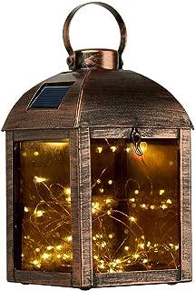 Go2garden Solar Hanging Lantern, Waterproof Metal Garden Light, Outdoor Decorative Table Lamp for Patio Decoration (Bronze)