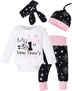 Baby Boys Girls Clothes New Year 2018/2019 Romper+Pants+Hat+Headband Outfit Set