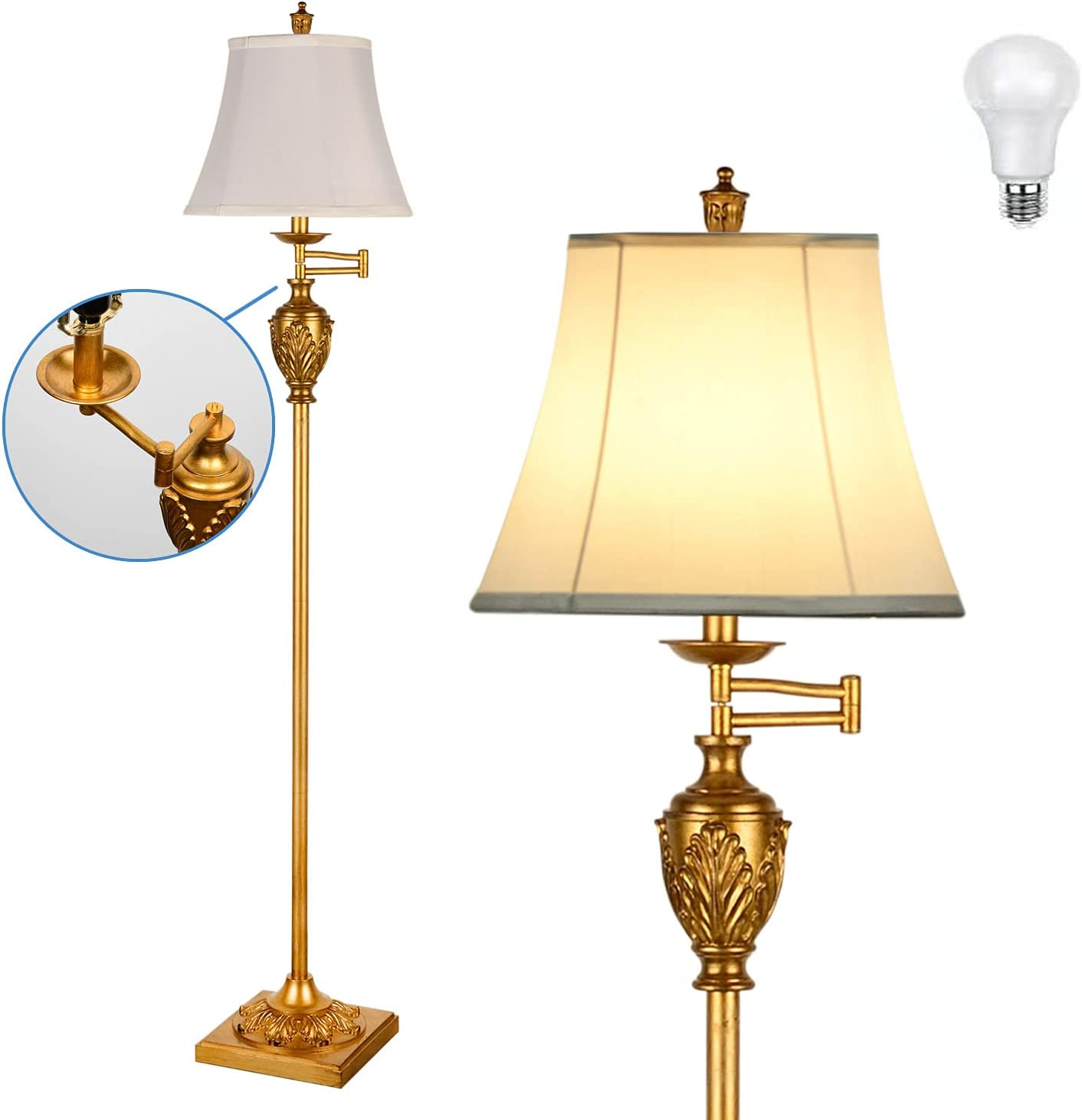 Traditional LED Floor Lamp 350° Swing Arm Standing Virginia Beach Max 61% OFF Mall Adjustable