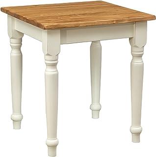 Biscottini Table à rallonge Style champêtre en Bois Massif de Tilleul avec Structure Antique Blanche et Plateau en Finitio...