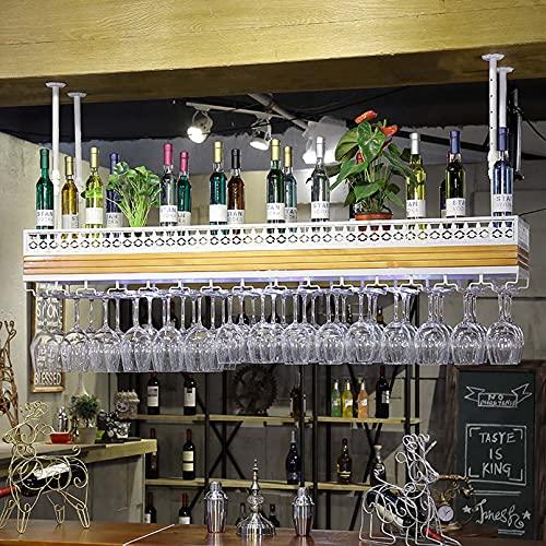 Estante para Copas De Vino para Colgar En El Techo Partición De Madera Maciza Porta Botellas De Vino con Decoración Ligera Estante para Copas Estante para Copas para Café, Restaurantes, Bares, Bodeg