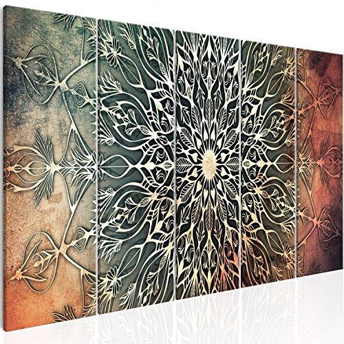murando Cuadro en Lienzo Mandala 225x90 cm Impresión de 5 Piezas Material Tejido no Tejido Impresión Artística Imagen Gráfica Decoracion de Pared Oriente f-A-0662-b-n