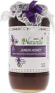 Farm Naturelle-Virgin 100% Pure Raw Natural Unprocessed Jamun Flower Forest Honey-1.45 KG Big Glass Bottle