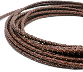 shapesbyX 5 Yards 4mm Braided Leather Cord Round Leather Strap for Bracelet Making Bolo Tie Distressed Brown