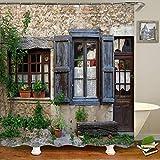 Cortinas de Ducha Puertas rústicas de una Antigua casa de Piedra con Detalles de Marco francés en el Campo Baño de Tela del Pasado Europeo 180x180cm