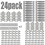 BYSN 24 Pack Heavy Duty Stainless Steel Cable Railing Kits for Wood Posts, DIY Balustrade Kit with Jaw Swage Fork Turnbuckle