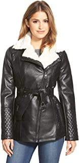 GUESS Women's Faux-Fur-Collar Quilted Faux-Leather Jacket, Black, XL