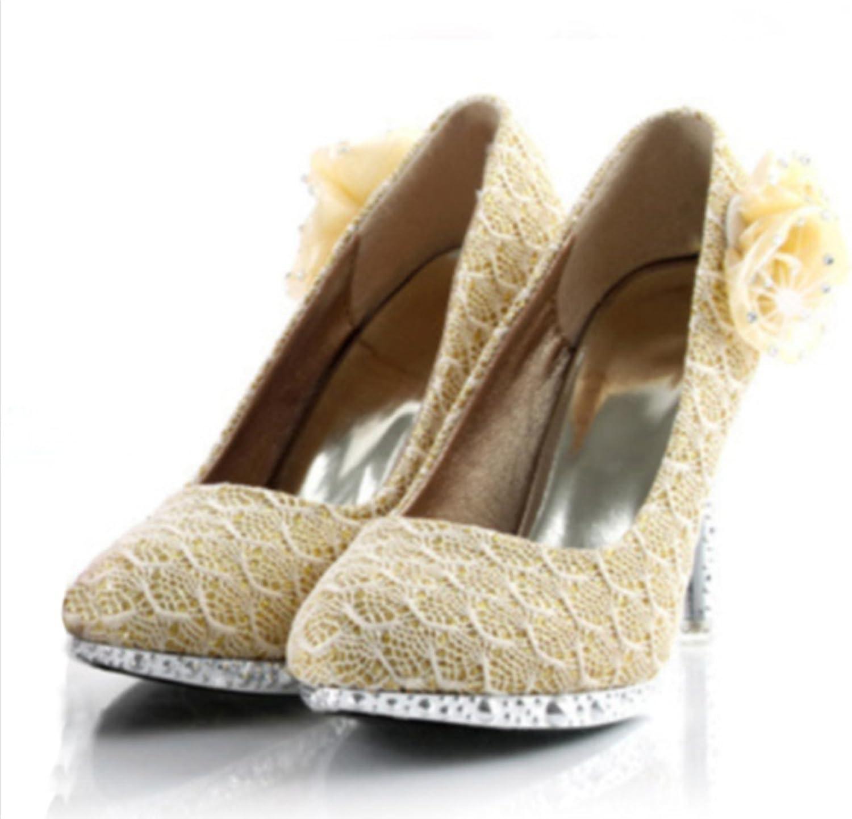 Naly Women's Kerr Lace Bridal Bridesmaid Round Toe Pump Jewlled Flowers
