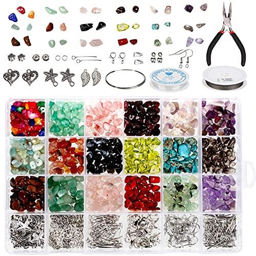 YGORTECH 18 Colori Pietre e Cristalli per Bigiotteria Fai da Te, Irregolari Gemme Pietre Dure Naturali Kit Braccialetti Collane Orecchini Fai da Te Articoli di Gioielleria Hobby Creativi Adulti