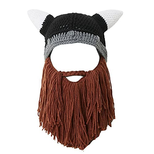374fa8df6b4 Lantra Besa Women Men Children Viking Pirate Cosplay Hat Full Beard Mask Funny  Knitted with Horns