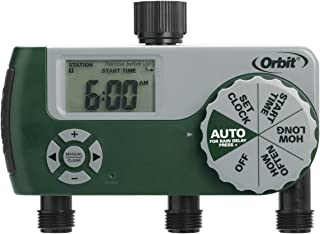 Orbit 56082 Programmable Hose Faucet Timer, 3 Outlet, Green