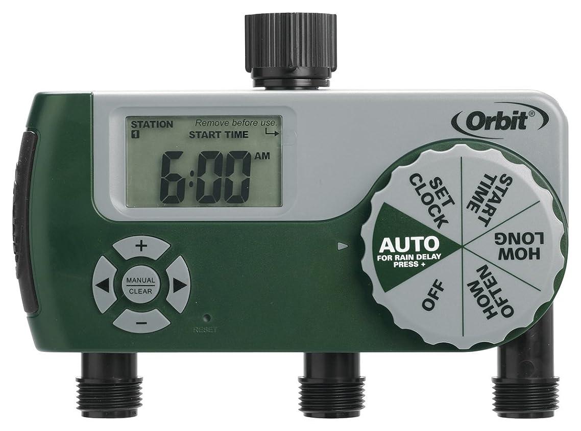 Orbit 56082 Programmable Hose Faucet Timer, 3 Outlet, Green