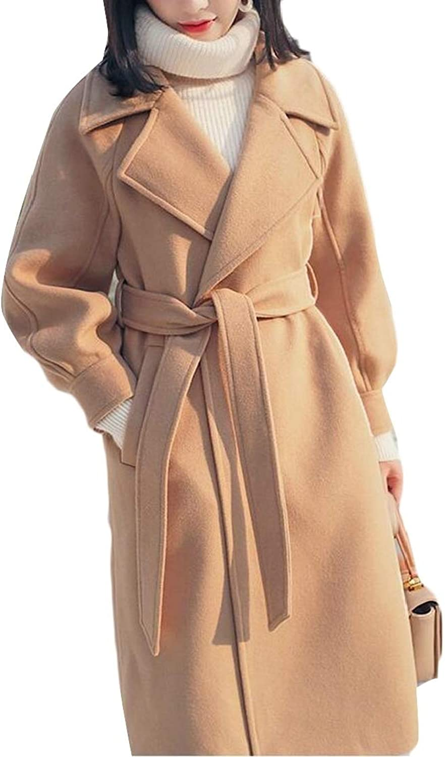 Generic Womens Solid Overcoat Mid Long Wool Blend Hepburn Jacket Trench Coat
